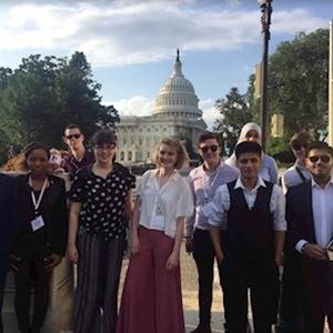 Sagar Haria from Leicester Young People's Council (far right) with other young people on his US trip in memory of Jo Cox