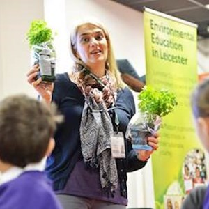 Lisa Didier, Soil Association programme manager for Leicester talks to schoolchildren about Food For Life at the Eco Schools Roadshow