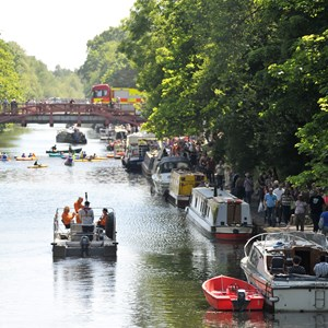 canal boats at Leicester's riverside festival