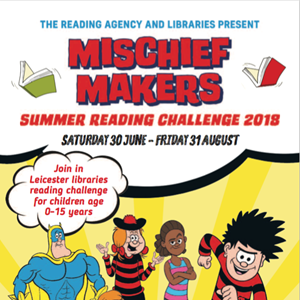 Image: Mischief Makers summer reading challenge poster