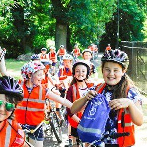 Image: Children on schools' bike ride