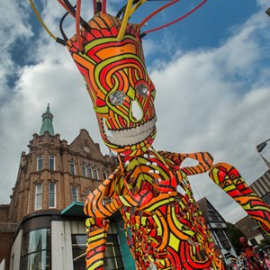 Giant puppet at city festival