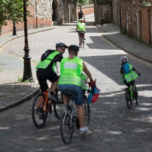 Image: Cyclists riding through Leicester