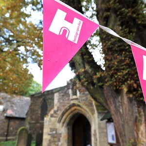 Heritage Open Day flag at historic church