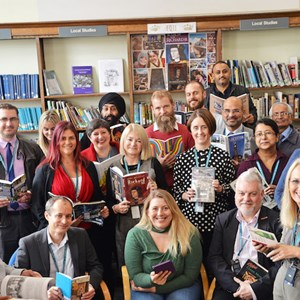 Image: Council staff and Cllr Sarah Russell at Leicester Central Library