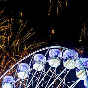 Wheel of light and fireworks