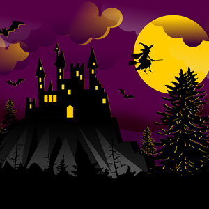 Image: A cartoon image of a spooky castle and a witch flying across a moon, to illustrate Halloween