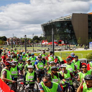 Image: Riders at the start of Let's Ride Leicester, the city's mass participation bike ride