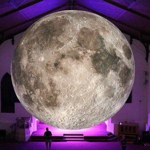 Image: A seven-metre diameter model of the moon for the Museum of the Moon art installation