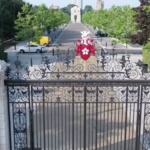 Victoria Park gates with the war memorial in the background
