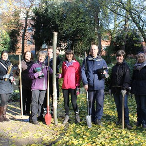 Image: Picture of city council staff taking part in an environmental challenge at Abbey Park