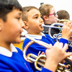 Children from Marriot Primary school's brass band