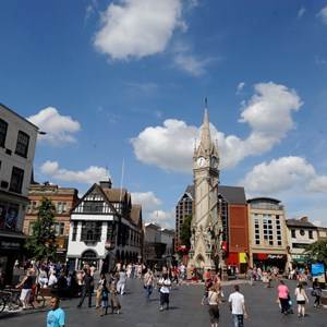 Image: Leicester's city centre and Clock Tower