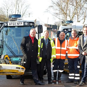 Image: left to right: city mayor Peter Soulsby with Michael Walker, Kevin Spence and Paul Hadley from the cleansing team, deputy city mayor Cllr Adam Clarke and the new street washing machines in New Parks.