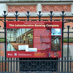 Existing heritage informationa panel outside bank in Granby Street