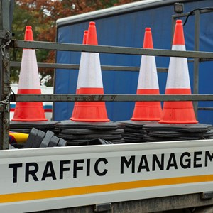 traffic cones and traffic management sign