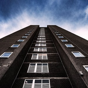 Tower block pictured from below
