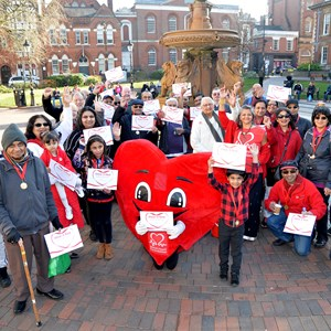 Image: A pic of the Wear It Red walkers at Town Hall Square