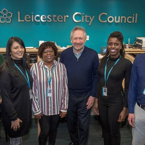 Leicester City Mayor with homeless workers