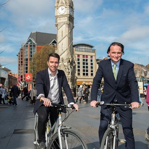 Picture shows l-r Dan Sherwood, head of sponsorship at Santander, with deputy city mayor Cllr Adam Clarke.