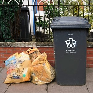 orange recycling bags and bin