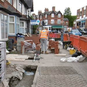 Front wall building work in Evington Road