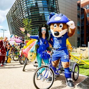 Image: Filbert Fox and friends at the HSBC Let's Ride Leicester event