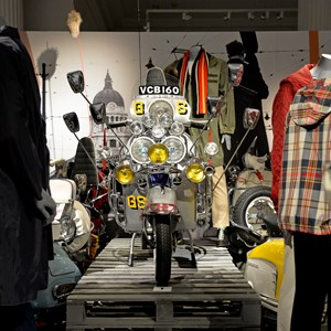 Mod fashion and moped on display