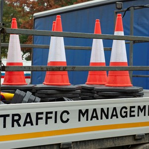 Image: Traffic cones on a traffic management van
