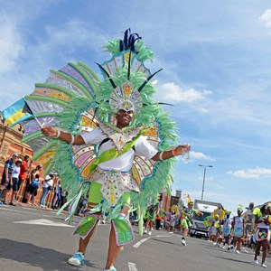 Image: A participant at Leicester's Caribbean Carnival