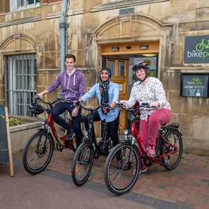 Image: Cyclists outside Leicester's Town Hall Bike Park
