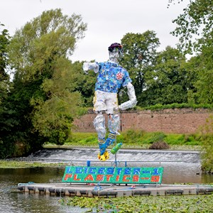 Image: The plastic footballer sculpture at Abbey park