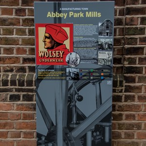 Abbey Park Mills existing heritage interpretation panel