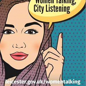 Image: A poster promoting the Women Talking: City Listening project