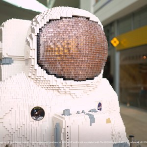 Lifesize Lego model of astronaut Neil Armstrong