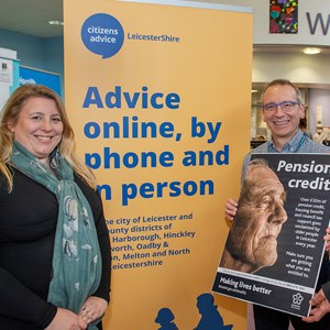 Image shows Cllr Sarah Russell, Ian Bloor from Citizens Advice and Tony Donovan from Age UK