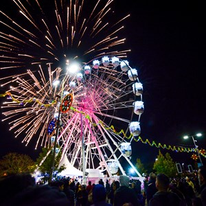 Image shows the Wheel of Light, fireworks and Diwali celebrations in Leicester