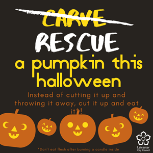 Image: A poster with the message 'rescue a pumpkin this Halloween'