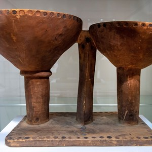 Pair of wooden bowls from Knowledge of the Unseen exhibition