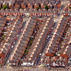 Aerial view of terraced houses in Evington