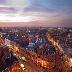 Leicester's skyline at dusk