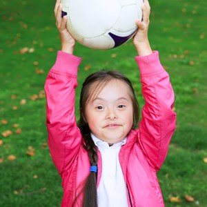 Image: A girl with Down's Syndrome doing sports