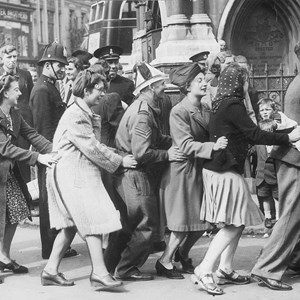 VE Day at Leicester Clock Tower. Photo credit: Leicester Mercury