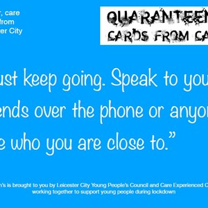 One of the Cards from Care postcards with a positive message