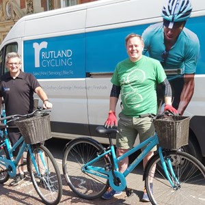 Paul Rymer (left) from Rutland Cycling with Andy Salkeld from Leicester Bike Aid/Leicester City Council