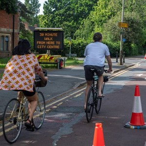 Cyclists on new pop-up cycle route on London Road