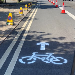 Picture of the outbound pop-up cycle lane on Hinckley Road in Leicester