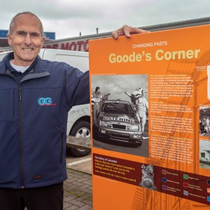 Graham Goode with the panel at Goodes Corner in Aylestone