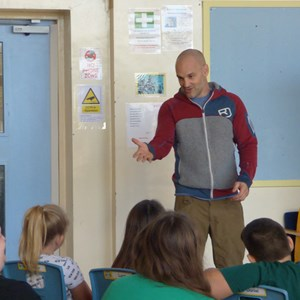 Picture shows Ed Stafford at the Leicester Primary Pupil Referral Unit